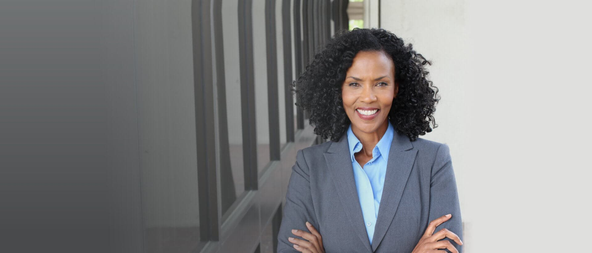 a business woman smiling