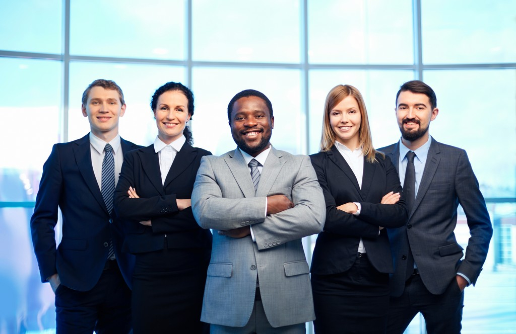 a group of professional consultants smiling